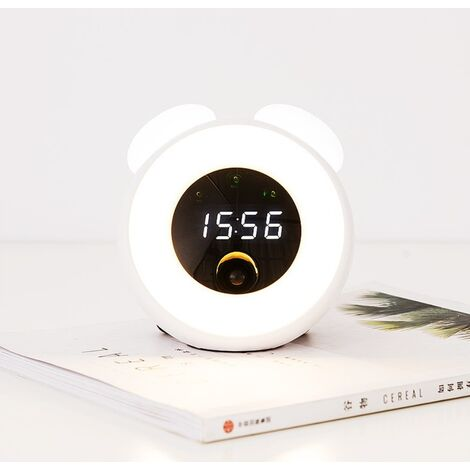 Little Alarm Clock Kids Room LED Room Induction Small White Electronic Wake up