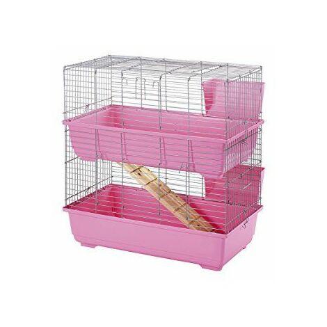 Little Friends Cage à 2niveaux pour lapin Rose 80cm