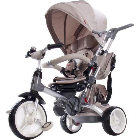 LITTLE TIGER   Tricycle enfant Vélo Evolutif Multifonctionnel & Siège Pivotant   Tige Directionnelle + pare soleil   Beige - Beige