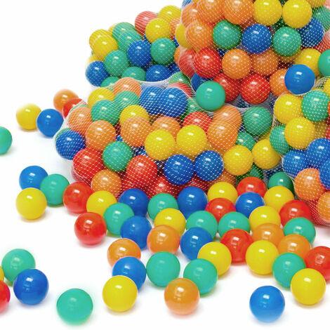 LittleTom 100 Boules de couleur Ø 7 cm de diamètre | petites Balles colorées en plastique jeu jouet pour enfants | mélange multicolore jaune rouge bleu vert orange pour remplir piscines châteaux gonflables tentes de jeux | qualité éprouvée