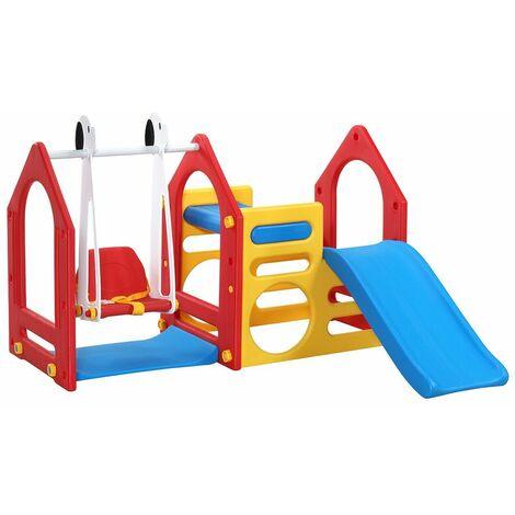 LittleTom Casa de Juegos 155x135cm para niños y niñas de 1 a 4 años incl Tobogán Columpio Paneles de Escalada rojo amarillo azul