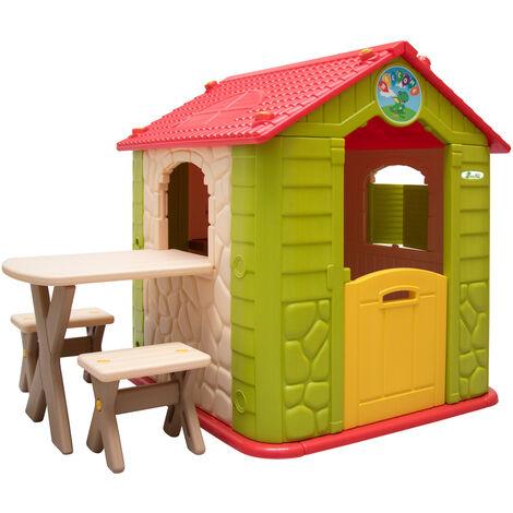LittleTom Maison de Jeu de jardin en plastique Maisonnette pour Enfants incl 1 table 2 bancs Beige Vert