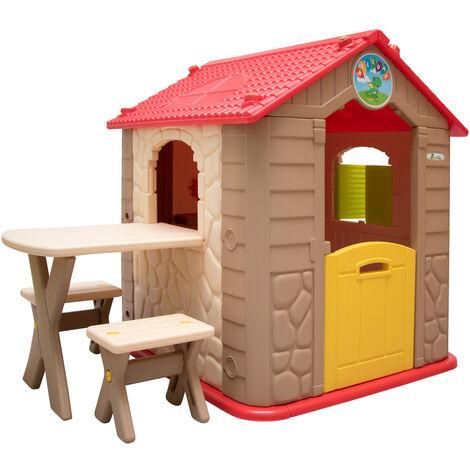 LittleTom Maison de Jeu de jardin en plastique Maisonnette pour Enfants incl 1 table 2 bancs Marron Beige