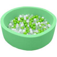 LittleTom Piscine en mousse vert 90x30 cm avec 350 Boules vert blanc transparent