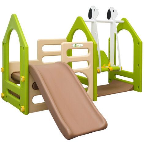 LittleTom Portique pour Petits Enfants 1-4 ans incl Balançoire Toboggan Parois d'Escalade Maison de Jeu avec 3 agrès Beige Vert Marron