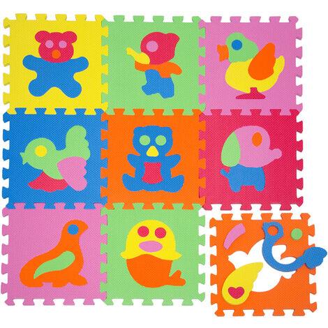 LittleTom Tapis de Jeu Doux pour Bébé Dalles Puzzle en Mousse Enfants Animaux
