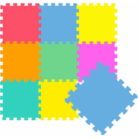 LittleTom Tapis de Jeu Doux pour Bébé Dalles Puzzle en Mousse Enfants Coloré