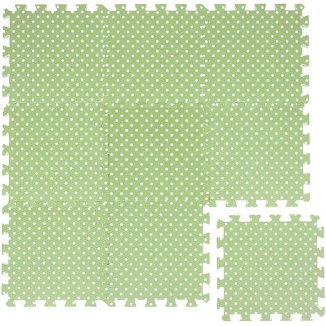 LittleTom Tapis de Jeu Doux pour Bébé Dalles Puzzle en Mousse Vert Points