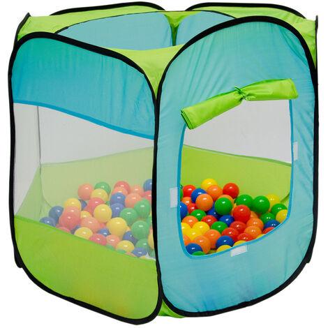 LittleTom Tente de jardin à boules 100x100x72cm jouet pour jeunes enfants Bleu