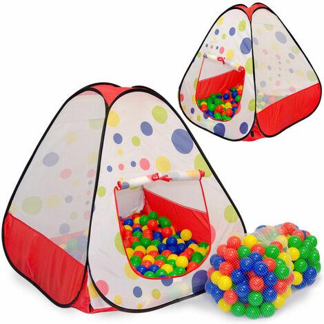 LittleTom Tente de Jeu 90x90x90cm jouet pop-up à pois incl 200 Boules colorées