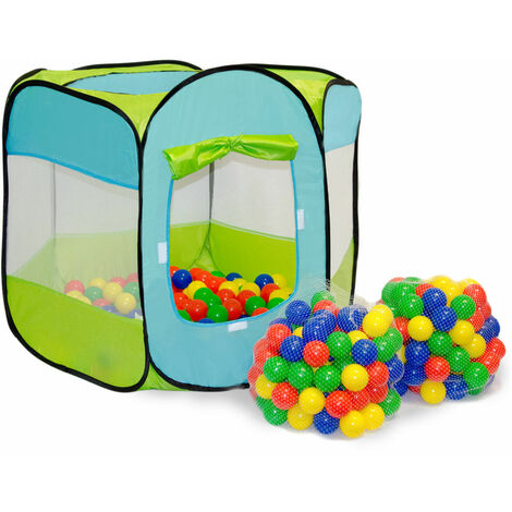 LittleTom Tente de Jeu pop-up 100x100x72cm incl 200 Boules en plastique Bleu
