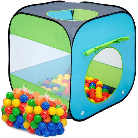 LittleTom Tente de Jeu pop-up 70x70x72cm jouet incl 200 Boules en plastique Bleu