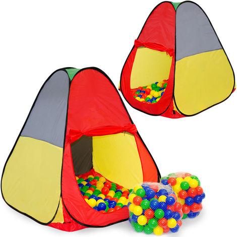 LittleTom Tente de Jeu pop-up 90x90x100cm incl 200 Boules en PE Multicolore