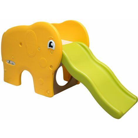 LittleTom Tobogán ondulado en forma de elefante 180x110x120cm juguete de plástico para niños pequeños Verde Amarillo