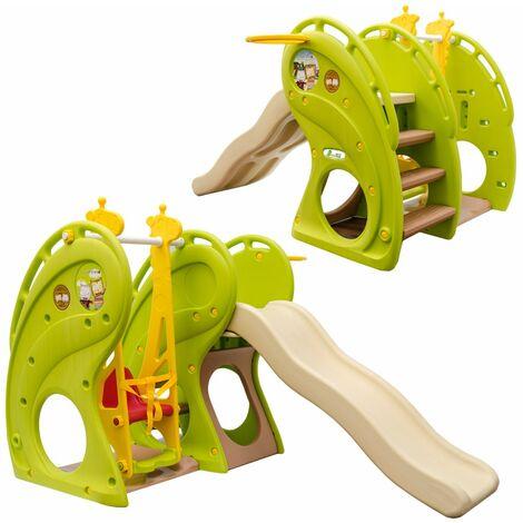 LittleTom Tobogán y Columpio 180x110x120cm juguete de plástico para niños pequeños verde-marrón-beige