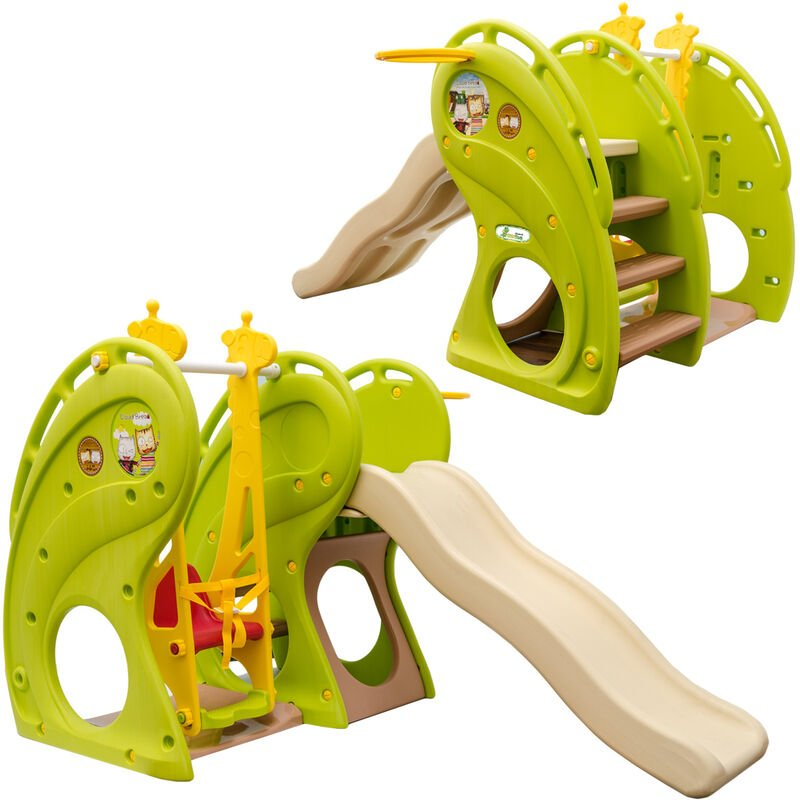 Toboggan et Balançoire pour petits enfants 180x110x120cm maison de jeux en plastique vert-marron-beige - Littletom