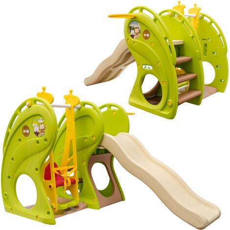 LittleTom Toboggan et Balançoire pour petits enfants 180x110x120cm maison de jeux en plastique vert-marron-beige
