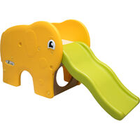LittleTom Toboggan forme éléphant 153x50x73cm pour enfant à partir de 1 an Jaune Vert