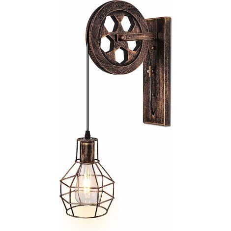 LITZEE 1 Luminaire Industriel Mid Century Rétro Appliques Murales En Fer Loft Poulie Applique Murale Caractéristiques pour Éclairage Intérieur Grange Restaurant (Couleur Rouille)