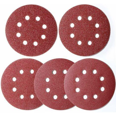 LITZEE 100 pièces papier abrasif ponceuse excentrique 125 mm Velcro, disques de ponçage 8 trous Velcro rond 125 mm pour ponceuse excentrique 20x 40/60/80/120/180 grain par