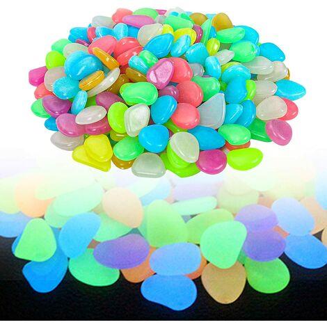 LITZEE 100 Pièces Pierres Lumineuses Cailloux Colorés Lueur Lumineuse De Galet Foncé pour La Décoration De Couloir De Jardin D'aquarium Couleur