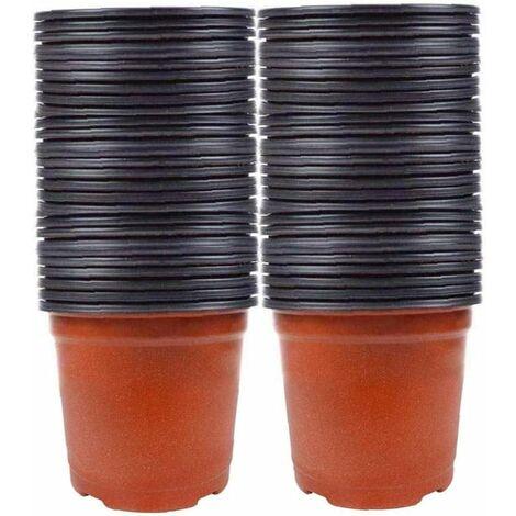 LITZEE 100 piezas Macetas de semillas Plantas de vivero Macetas pequeñas de plástico Macetas de vivero Macetas de plástico Macetas Semilla de inicio