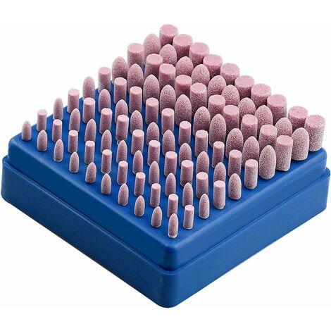 LITZEE 100 piezas muela abrasiva para herramientas de torneado de piedra montada en esmerilado y pulido para herramientas de torneado Dremel vástago de 3 mm
