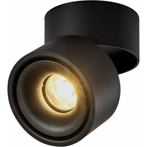 LITZEE 10W Foco de techo LED Luz de techo, ángulo de cuerpo de lámpara ajustable, foco de lámpara, foco de techo, aplique de techo, foco de techo ajustable, luz de techo LED, 10x10x10cm (negro-3000K) [clase energética A +]