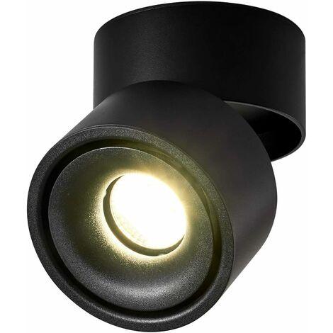 LITZEE 10W Foco de techo LED Luz de techo, ángulo de cuerpo de lámpara ajustable, foco de lámpara, foco de techo, aplique de techo, foco de techo ajustable, luz de techo LED, 10x10x10cm (negro-4000K) [clase energética A +]