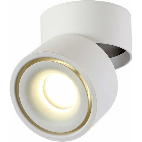 LITZEE 10W Foco de techo LED Luz de techo, ángulo de cuerpo de lámpara ajustable, focos de luz, foco de techo, aplique de techo, foco de techo ajustable, luz de techo LED, 10x10x10cm (blanco-4000K) [clase energética A +]