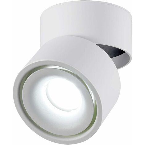 LITZEE 10W Foco de techo LED Luz de techo, ángulo de cuerpo de lámpara ajustable, lámpara de foco, foco de techo, aplique de techo, foco de techo ajustable, luz de techo LED, 10x10x10cm (blanco-6000K) [clase energética A +]
