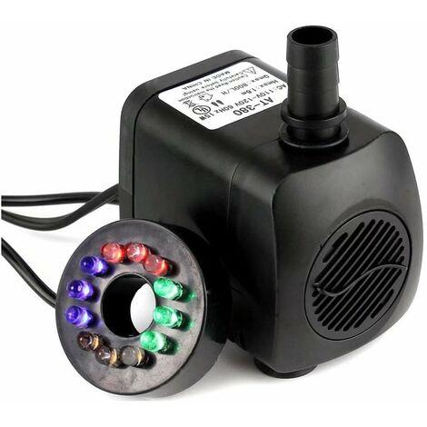 LITZEE 1164/5000 15W 700L / H Pompe à eau submersible avec 12 LED couleur LED pour fontaine Piscine Eau de jardin Réservoir de poissons Aquarium Eau