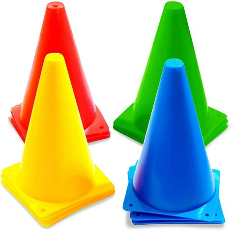 LITZEE 12 Cônes de Signalisation Multicolores, Cônes de Circulation, Cones de Sport, 23cm - Plastique Durable de Haute Qualité - Plot Cone pour Football, Sport d'Agilité ou Le Dressage des Chiens.