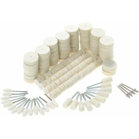 LITZEE 129 piezas de rueda de pulido abrasivo, herramientas de pulido, fieltro de lana, accesorios de pulido de superficies metálicas para herramienta rotativa Dremel