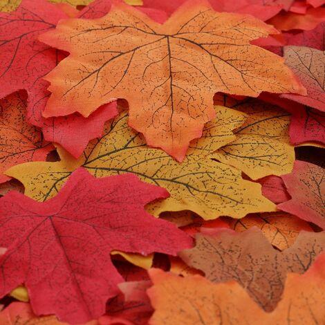 LITZEE 150 Uds Multicolor hojas de arce artificiales planta otoño decoración jardín boda Navidad hogar noche fiesta arte DIY