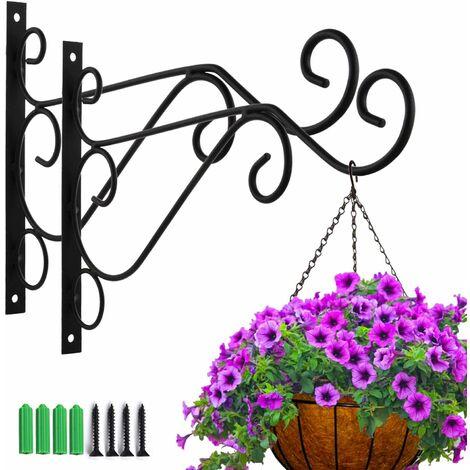 """main image of """"LITZEE 2 ganchos de pared de hierro para plantas, ganchos para plantas colgantes, soporte de pared Soporte para plantas colgante Soporte decorativo de flores para colgar en la pared para macetas, linternas, campanas de viento (geometría) Color aleatorio d"""""""