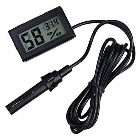 LITZEE 2-in-1 Digital LCD intégré thermomètre hygromètre avec Externe pour Reptile Incubateur Aquarium Volaille - Noir