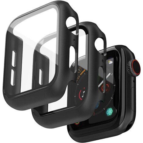 LITZEE 2 Pièces Coques Compatible avec Apple Watch 44mm Series 6/5/4/SE Protecteur D'écran, Noir Anti-Scratch PC Coquille HD Verre Trempé Housse de Protection Globale pour iWatch Series 6/5/4/SE