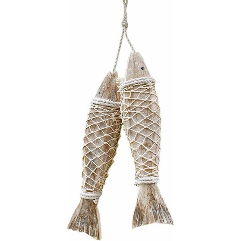 2 piezas de decoración de madera con peces, decoración de pared de madera para decoración del hogar, decoración náutica, decoración de pared con tema