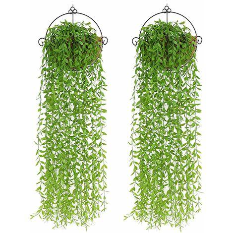 LITZEE 2 piezas de plantas artificiales para colgar, 95 cm de plantas artificiales, hiedra, hojas de sauce, plantas de plástico, decoración de plantas de vid para colgar en el jardín de bodas -A