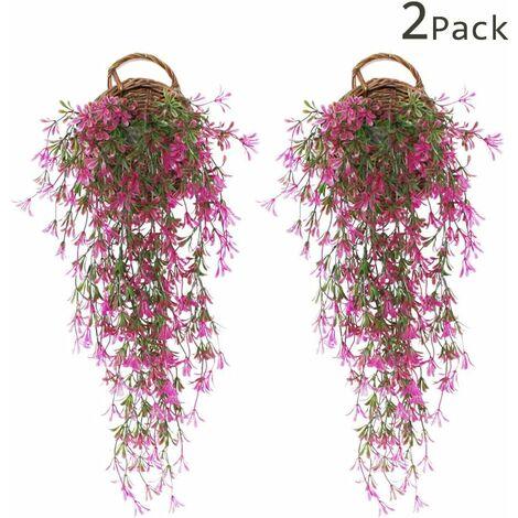 LITZEE 2 piezas Faux Ivy | Planta de hiedra artificial | Caída de hiedra | Hoja de hiedra artificial | Decoraciones de boda de glicinias falsas | Decoraciones para fiestas en el jardín - rojo
