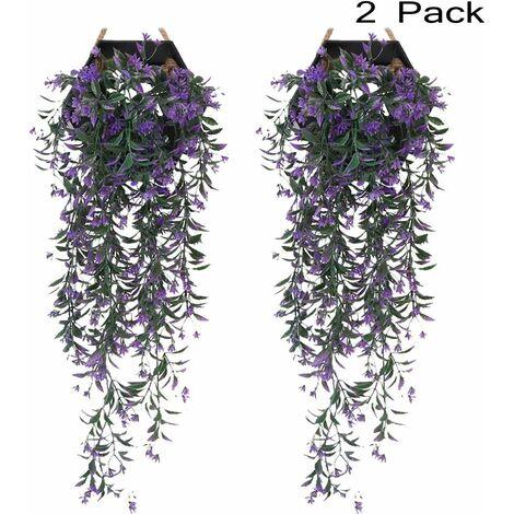 LITZEE 2 piezas Faux Ivy | Planta de hiedra artificial | Caída de hiedra | Hoja de hiedra artificial | Decoraciones falsas de la boda de las glicinias | Decoraciones para fiestas en el jardín - violeta