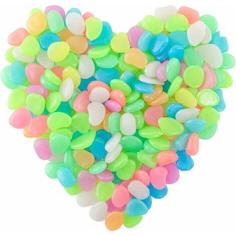 LITZEE 200 pièces de galets lumineux, pierres fluorescentes, pierres lumineuses colorées, pierres nocturnes, pour la décoration de jardin d'aquarium