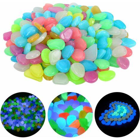 LITZEE 200 pièces pierres lumineuses colorées galets galets lumineux galets lumineux galets fluorescents pour la décoration de la chambre des enfants de jardin d'aquarium (couleur mixte)
