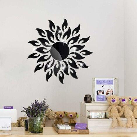 LITZEE 27 Pcs Fleur du Soleilr Miroir Autocollant Noir, Acrylique Brillant Miroir Decoration Murale, 3D Moderne Miroir Adhesif Mural DIY, Decoration Maison Mirroir Murales
