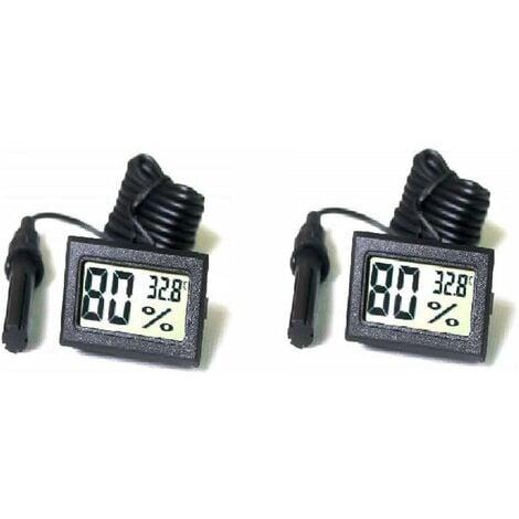 LITZEE 2Pcs LCD Tuner Numérique Intégré Thermomètre Hygromètre avec Sonde Externe pour Couveuse Aquarium Volaille Reptile Noir