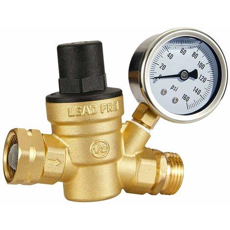 LITZEE 3/4 Regulador de presión de agua de latón sin plomo con manómetro para RV Camper Regulador de presión de agua ajustable, aceite integrado (roscas NH)