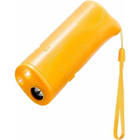 LITZEE 3 in 1 Handheld Ultrasons Bouchon Anti-aboiement pour Chien à ultrasons LED Portable Anti-aboiement Anti-aboiement et Anti-aboiement Enseignement Education (Jaune)