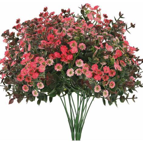 LITZEE 3 piezas de flores artificiales, margaritas, flores artificiales, eucalipto, plantas artificiales, flores de plástico, flores falsas, decoración para balcón, jardín, maceta interior, florero, decoración