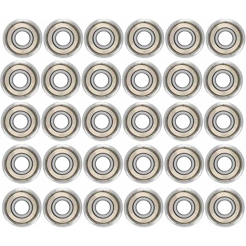 LITZEE 30 piezas 608ZZ Rodamientos de bolas, rodamientos de metal con doble blindaje Rodamientos de velocidad Rodamientos de bolas de calidad para